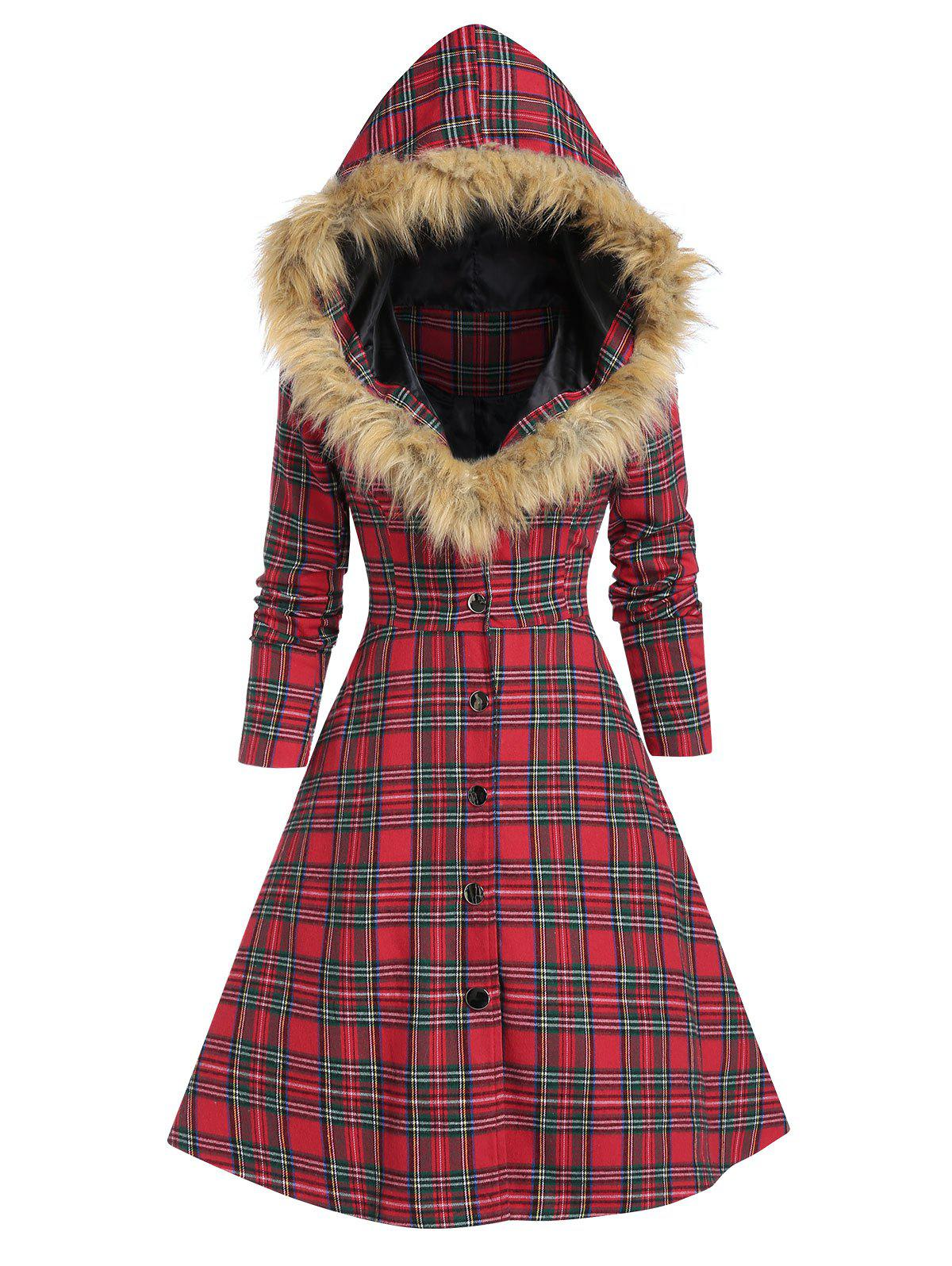 Hooded Faux Fur Insert Lace Up Plaid Coat - CHERRY RED L