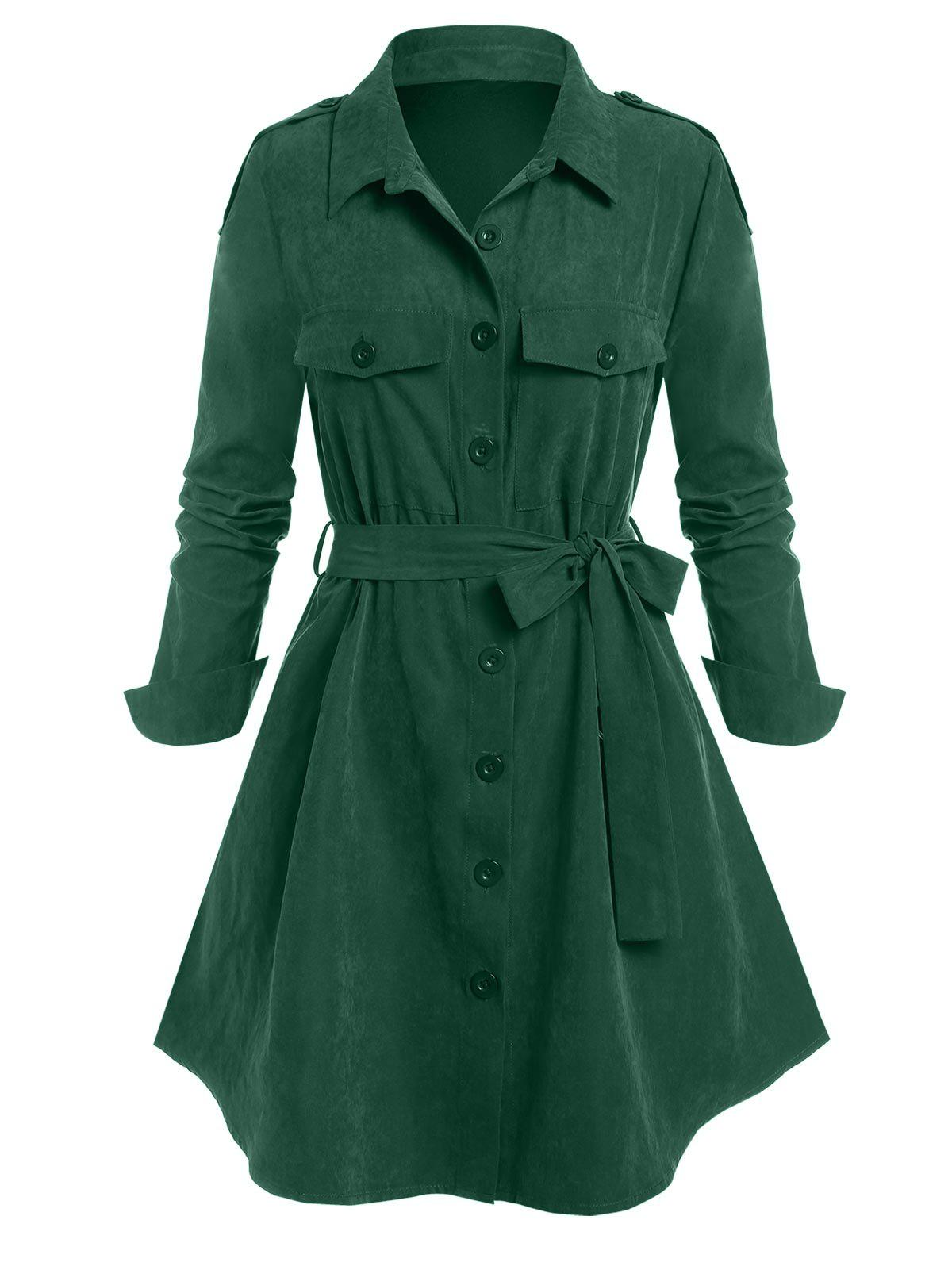 Plus Size Epaulet Single Breasted Belted Tunic Coat - DEEP GREEN 2X