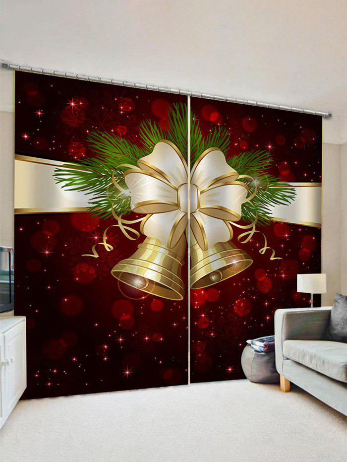 2 Panels Christmas Bell Print Window Curtains - multicolor W33.5 X L79 INCH X 2PCS