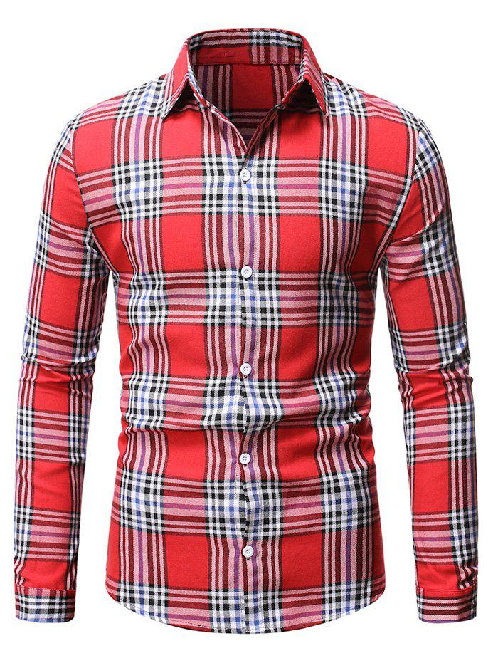 Plaid Casual Button Up Long Sleeve Shirt - RED L