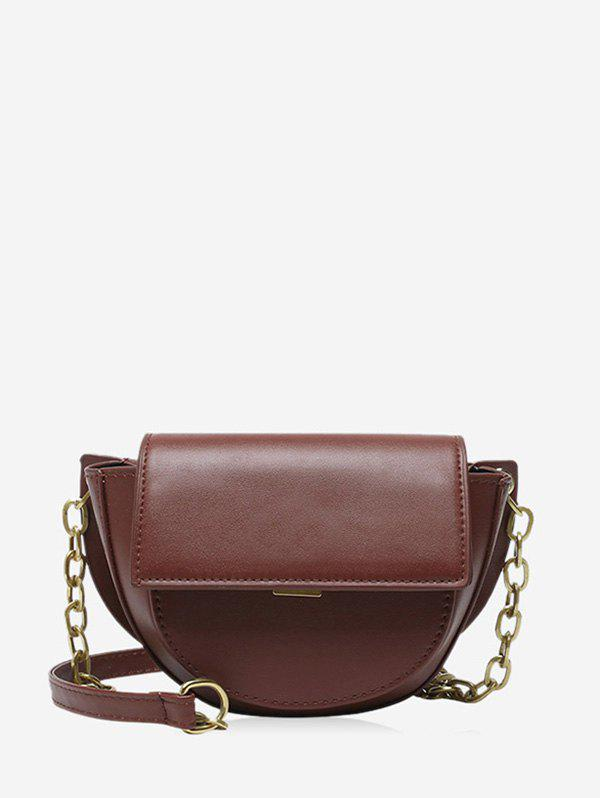 Cover Chain Solid Saddle Bag - RED WINE