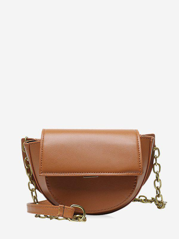 Cover Chain Solid Saddle Bag - BROWN