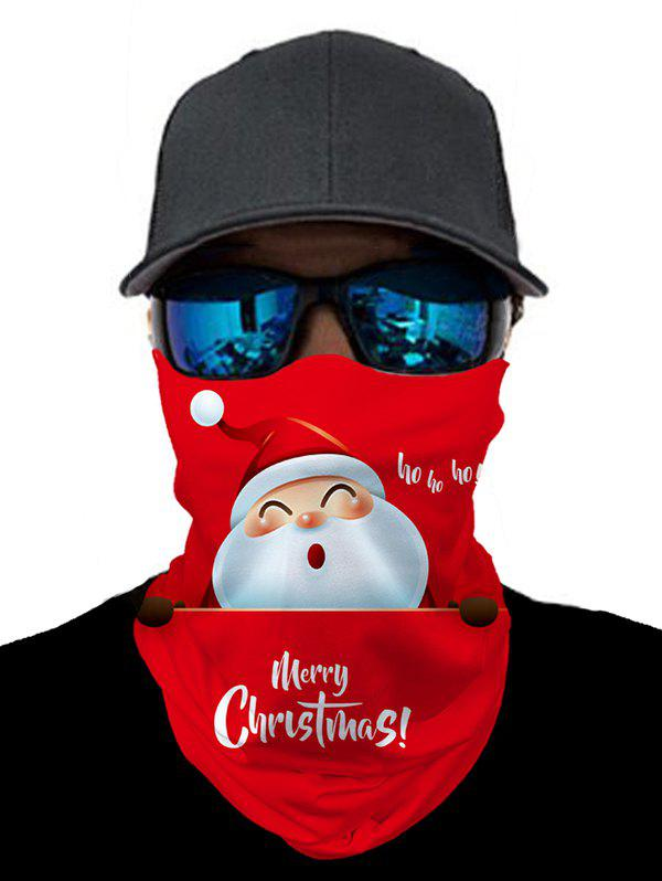 Outdoor Christmas Santa Print Mask Round Scarf - RED 25*50CM