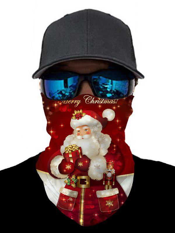 Christmas Outdoor Santa Pattern Cycling Mask Round Scarf - CHERRY RED 25*50CM