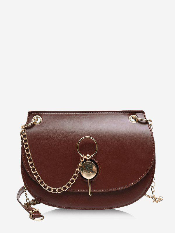 Chain Cover Crossbody Saddle Bag - RED WINE