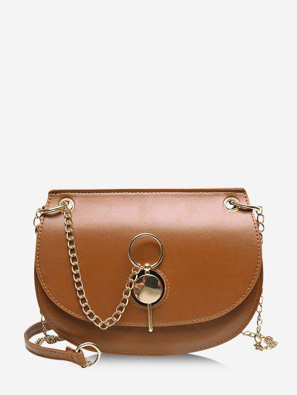 Chain Cover Crossbody Saddle Bag - BROWN