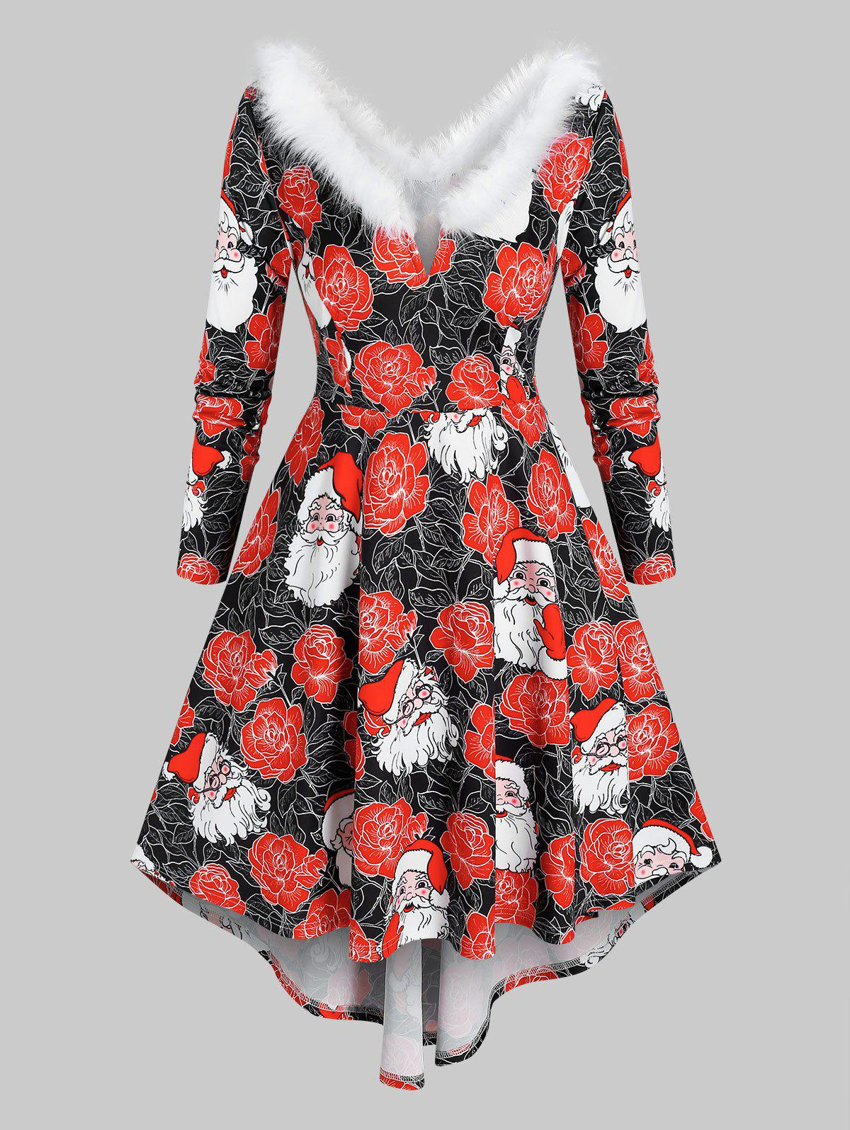 Plus Size Fluffy Collar Santa Claus Print Dress - multicolor 5X