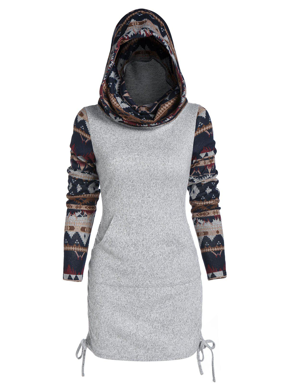 Hooded Tribal Print Cinched Knitwear - ASH GRAY 3XL