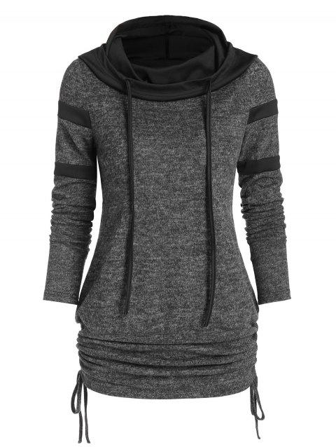 Cinched Hooded Heathered Blouson Knitwear