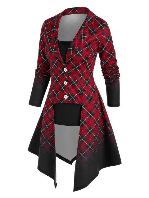 Irregular Ombre Plaid Coat and Camisole Set