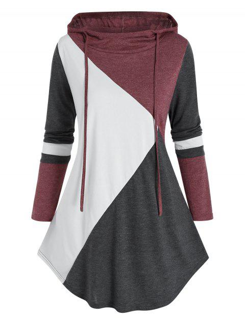 Plus Size Colorblock Drawstring Curved Hoodie