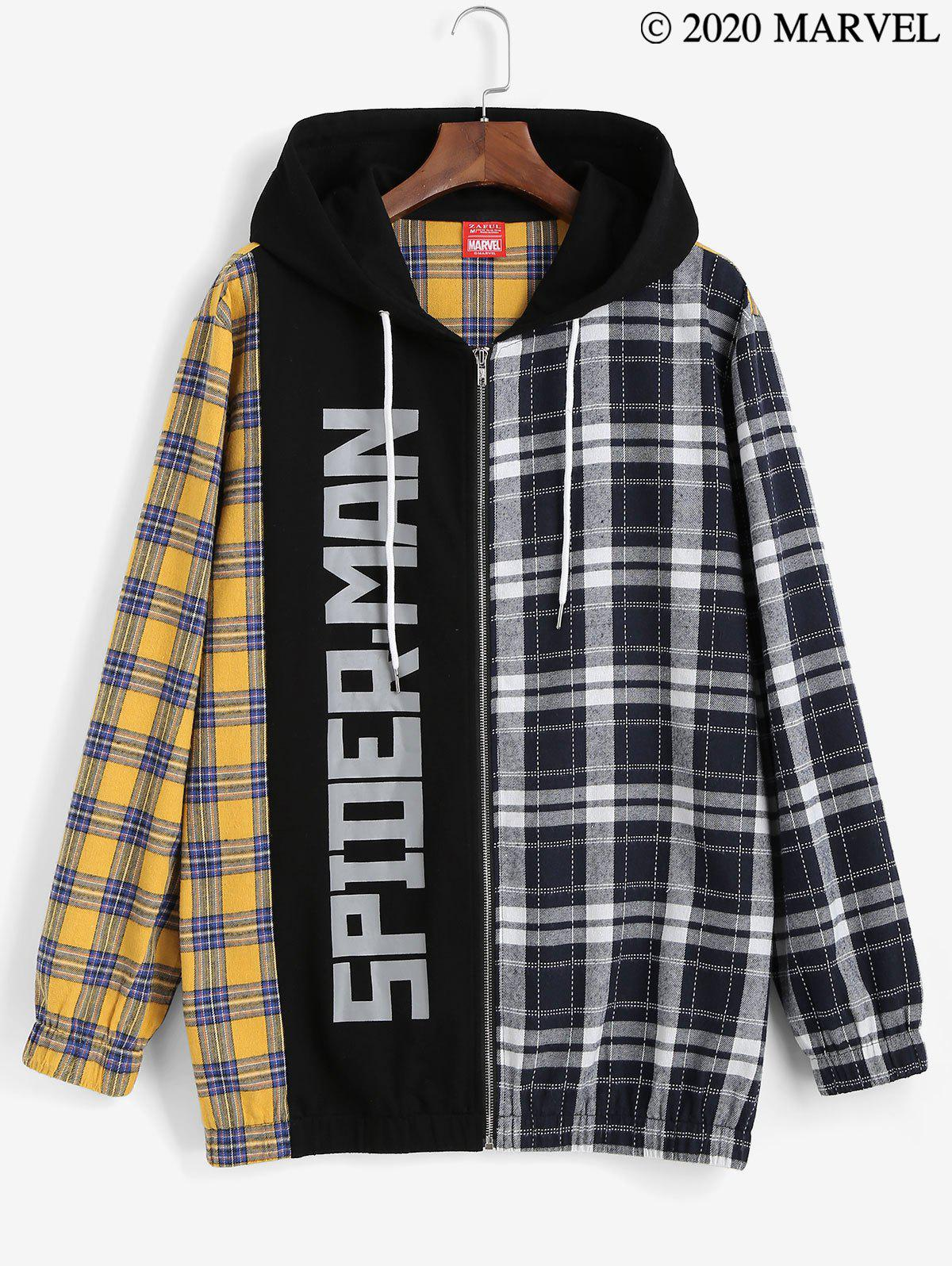 Marvel Spider-Man Plaid Zip Up Hoodie - multicolor A XL