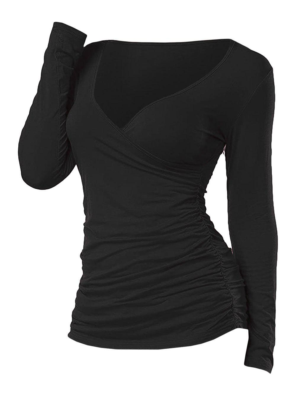 Plunging Ruched Long Sleeve T Shirt - BLACK XL