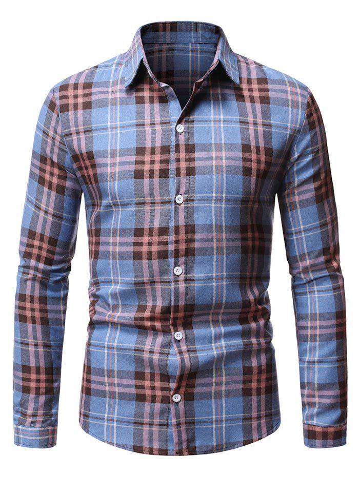 Button Up Plaid Pattern Casual Shirt - BLUE IVY L