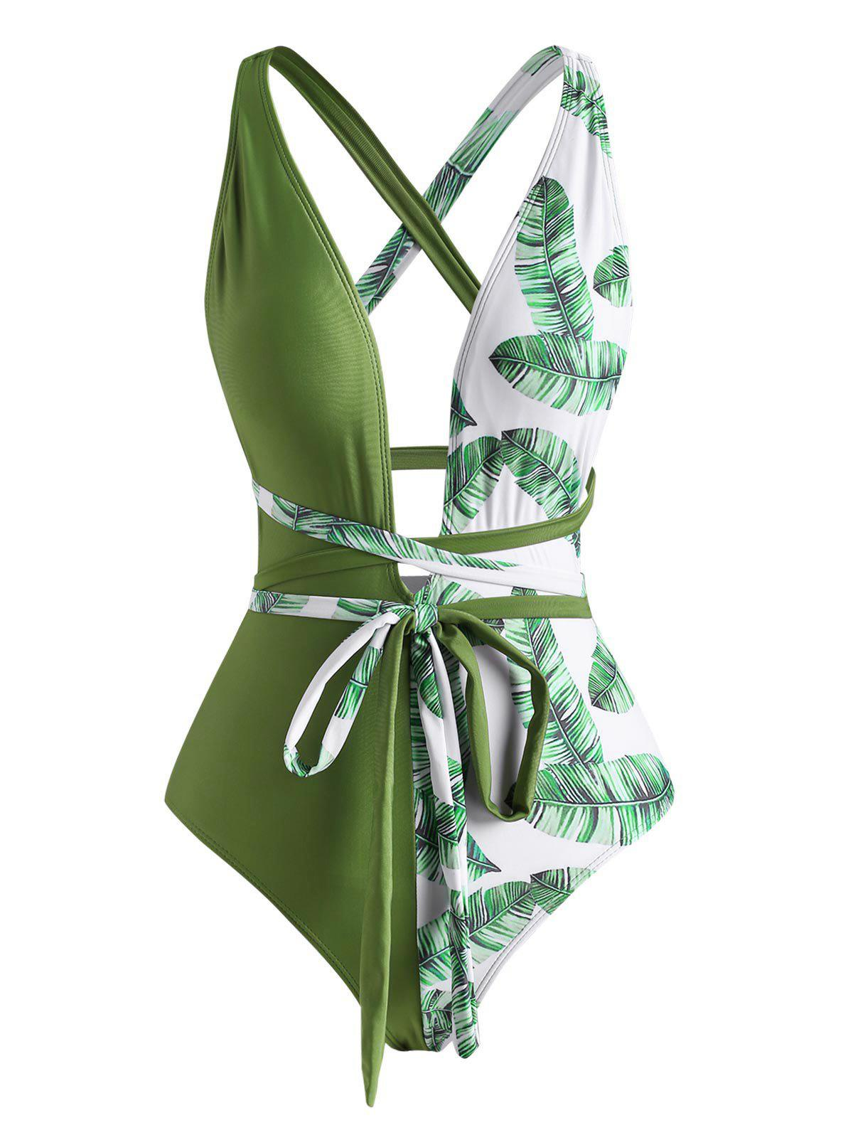 Tropical Leaf Cross Wrap One-piece Swimsuit - DEEP GREEN S