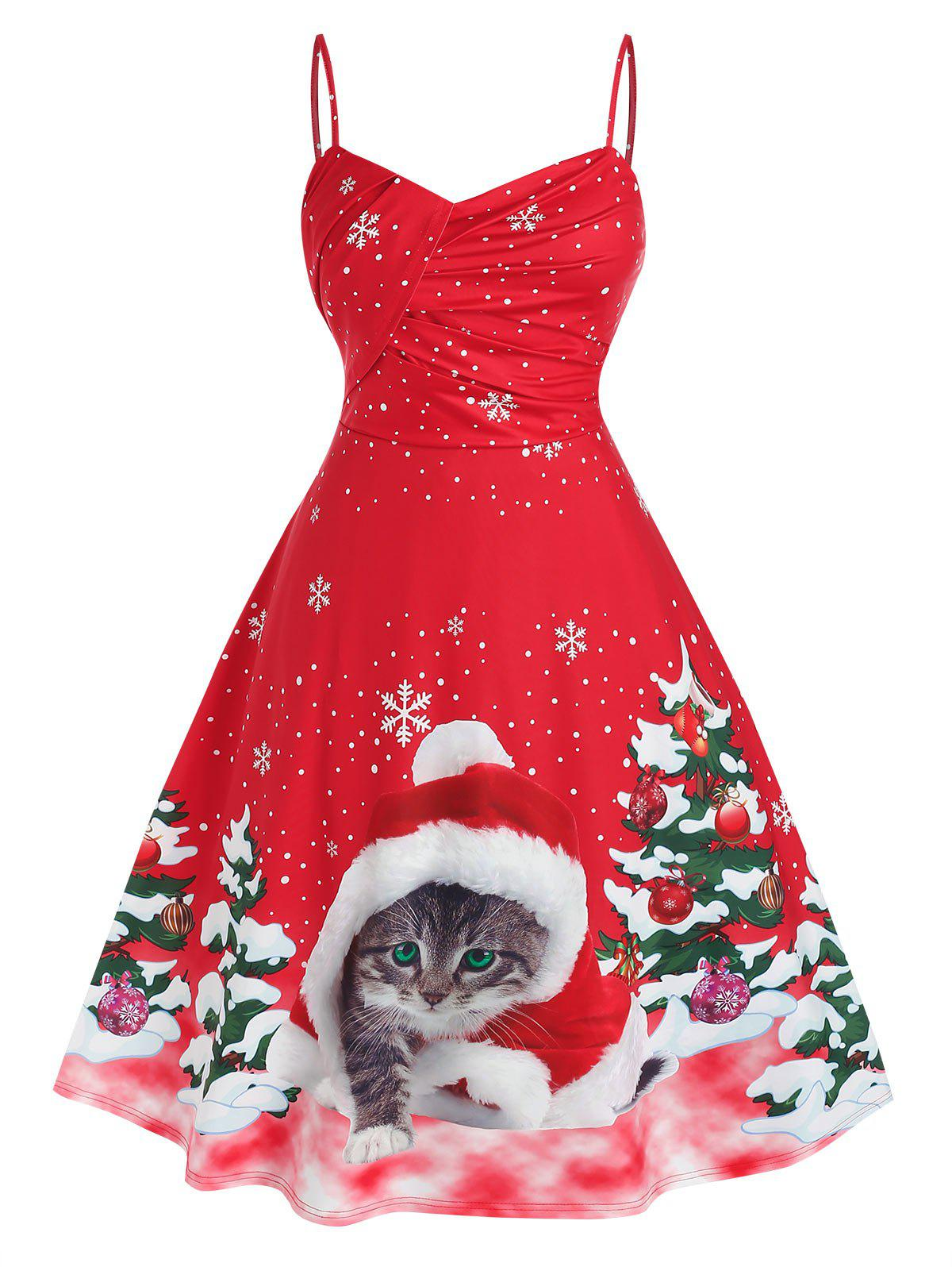 Plus Size Christmas Cat Tree Print Midi Dress - RED 5X