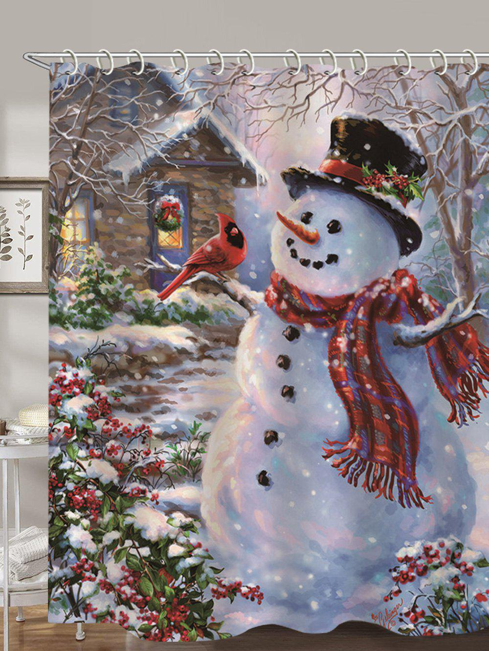 Christmas House Snowman Print Waterproof Shower Curtain - multicolor W59 X L71 INCH