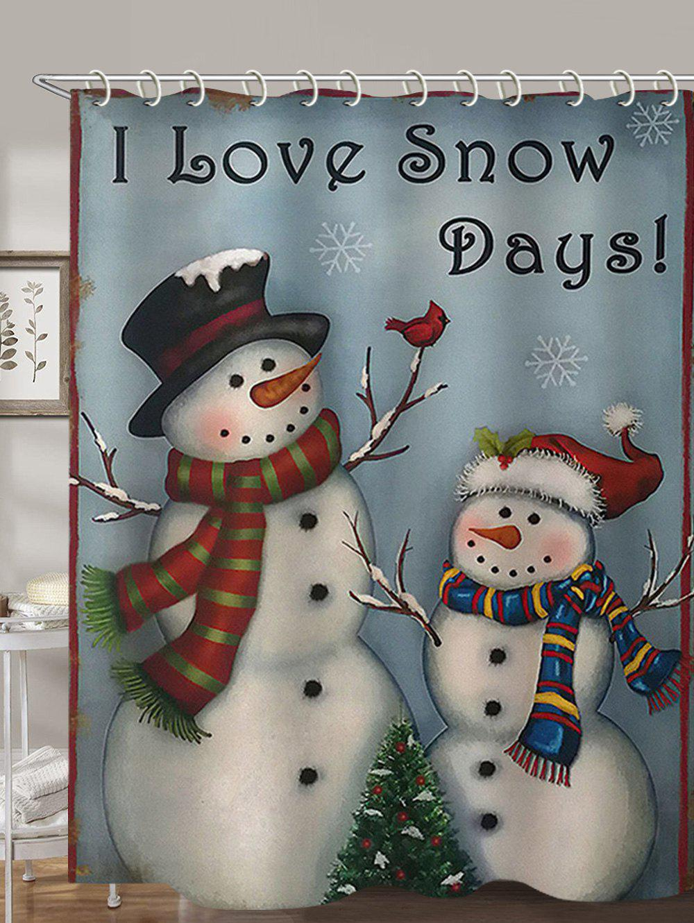 Snowman Christmas Printed Waterproof Shower Curtain - multicolor W71 X L71 INCH