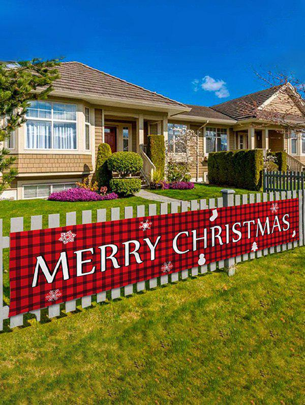 200CM Merry Christmas Pattern Party Decorative Outdoor Banner - RED WINE