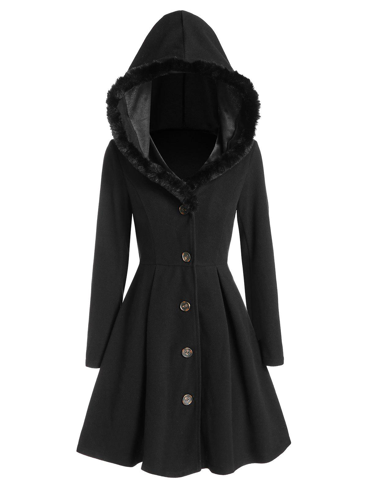 Hooded Faux Fur Insert Skirted Long Wool Coat - BLACK 2XL
