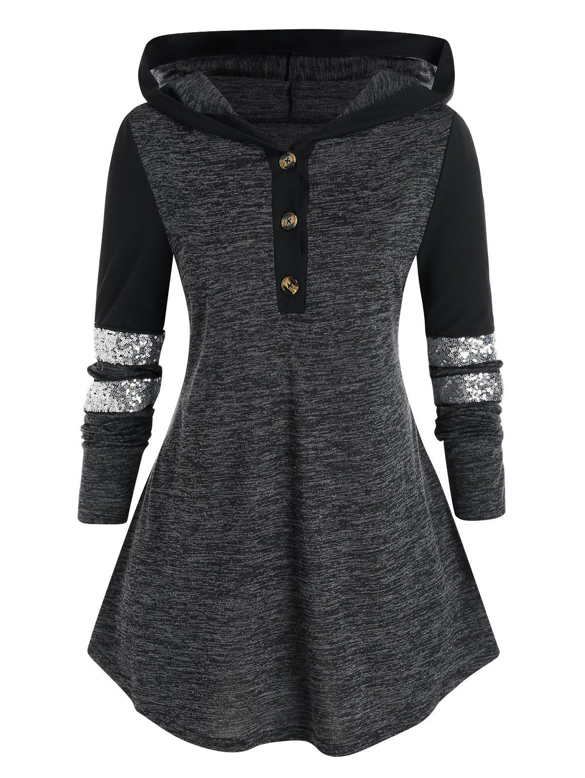 Plus Size Two Tone Hooded Sequined T Shirt - DARK SLATE GREY 2X