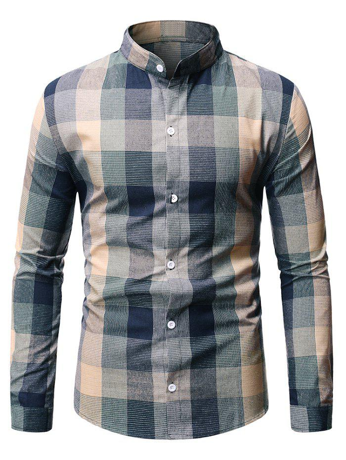 Long Sleeve Plaid Patterned Button Down Shirt - GREEN M