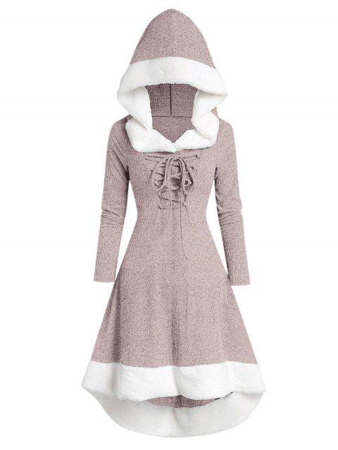 Hooded Lace Up Faux Fur Panel Marled Asymmetrical Dress