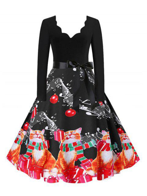 Plus Size Scalloped Christmas Printed Flare Dress