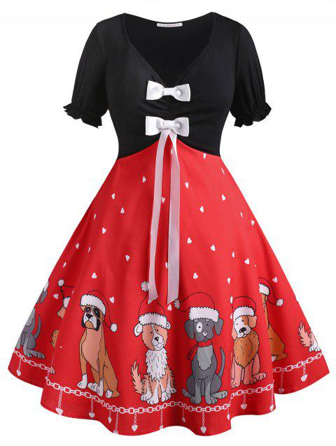 Christmas Puppy Dog Heart Bowknot Plus Size Dress