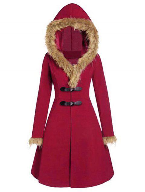 Faux Fur Insert Buckles Long Coat