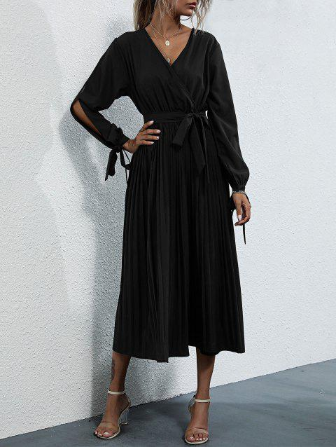 Split Sleeve Tie Cuffs Pleated Midaxi Surplice Dress