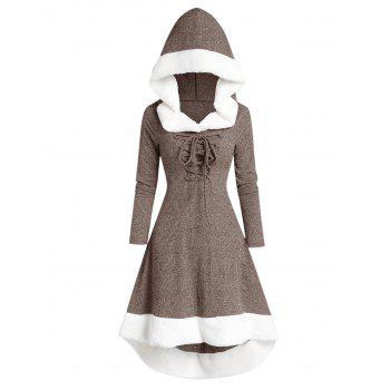 Hooded Lace Up Faux Fur Panel Marled Dress
