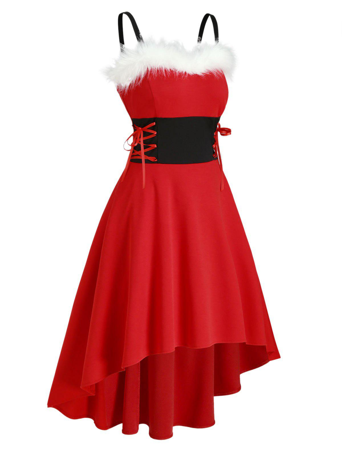 Christmas Faux Fur Insert Lace Up High Low Dress - RED S