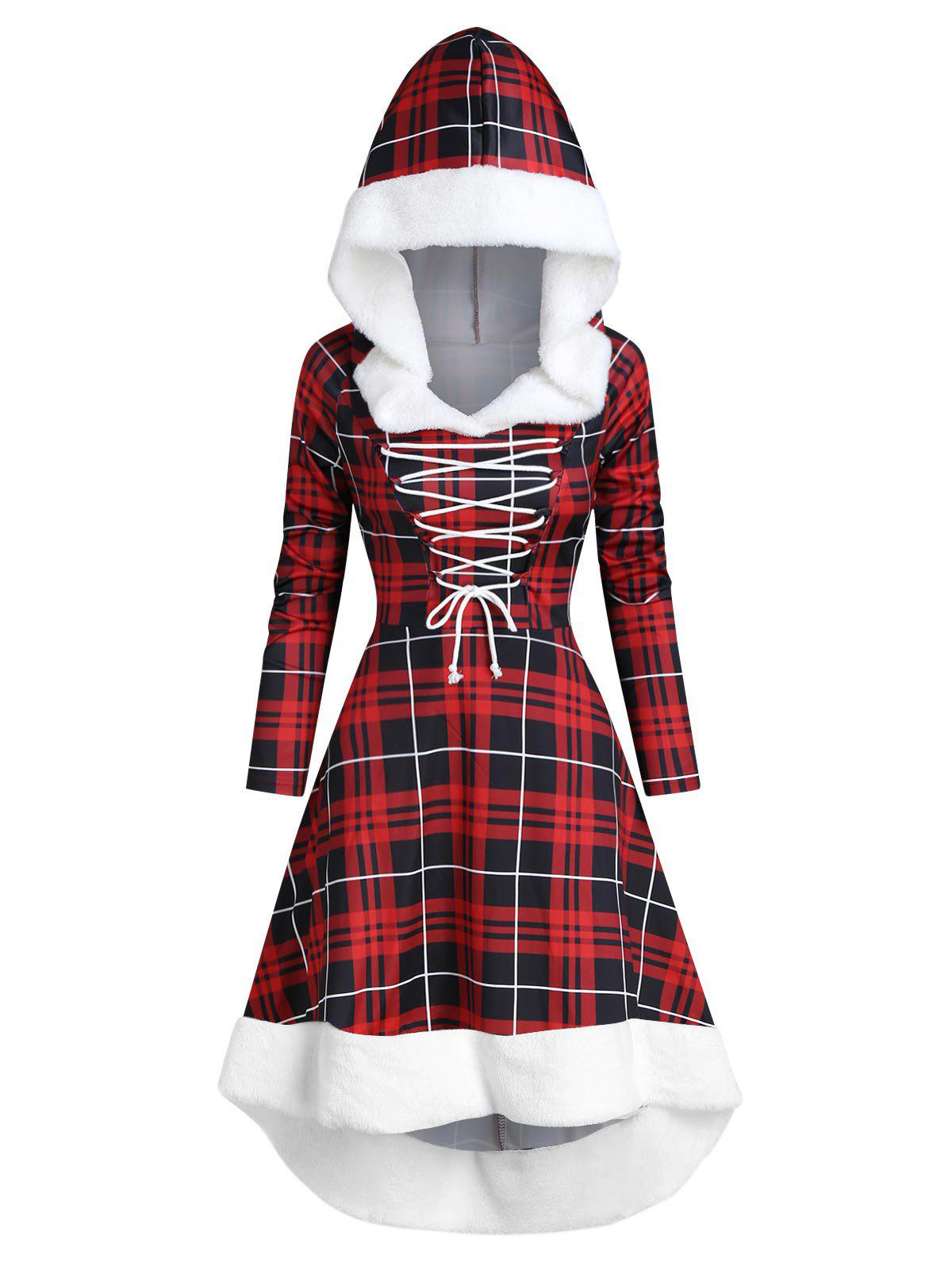 Plaid Faux Fur Insert Hooded Lace Up High Low Dress - RED WINE L