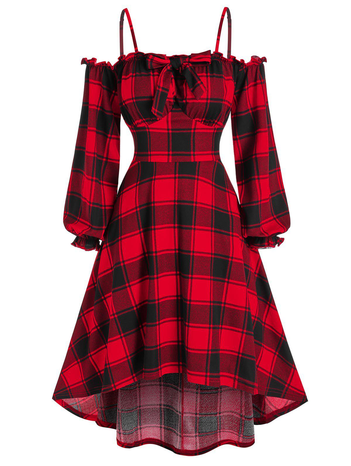 Lantern Sleeve Cold Shoulder Plaid High Low Dress - RED L
