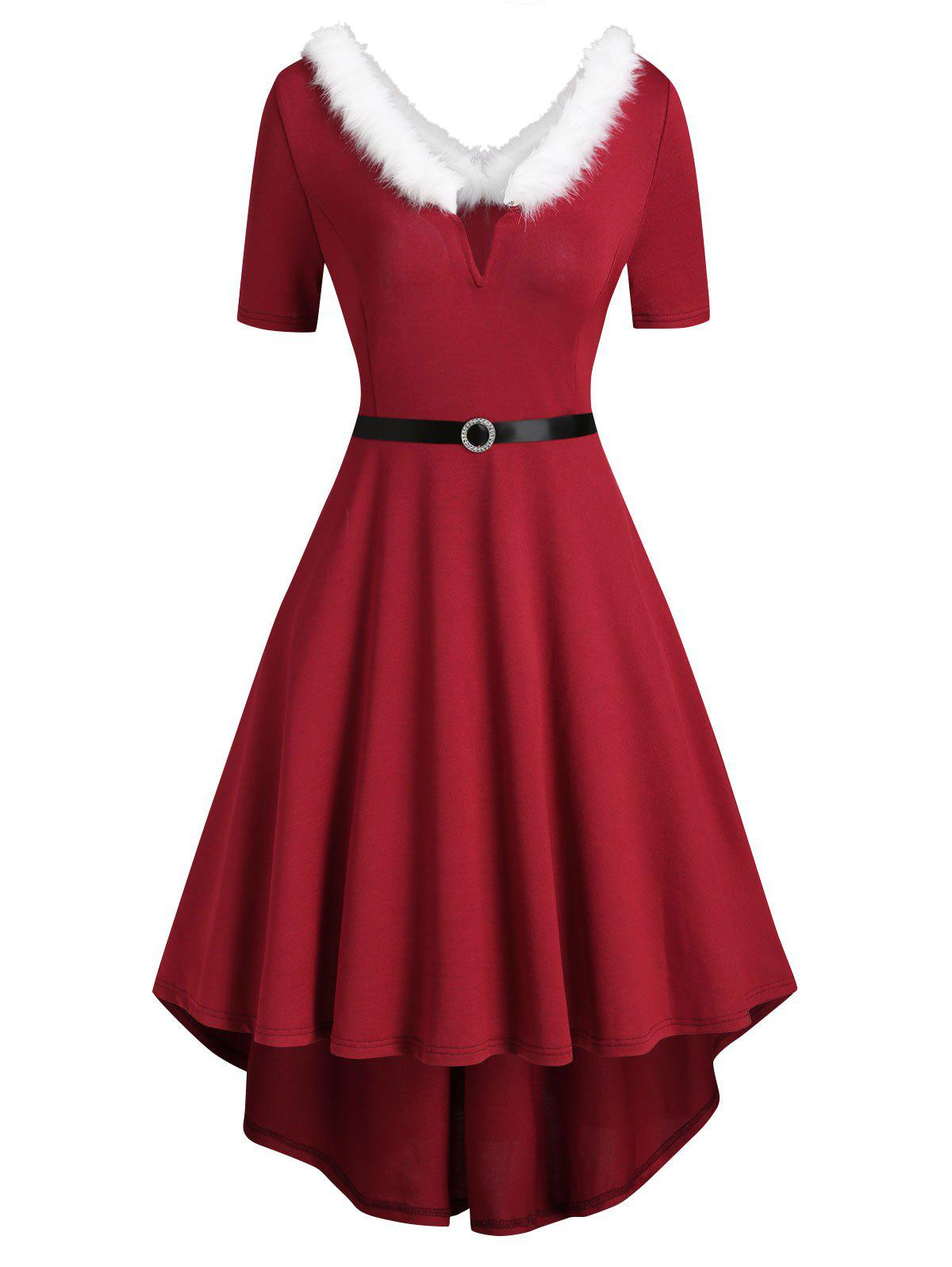 V-wired Faux Fur Trim Knit High Low Dress - RED XL