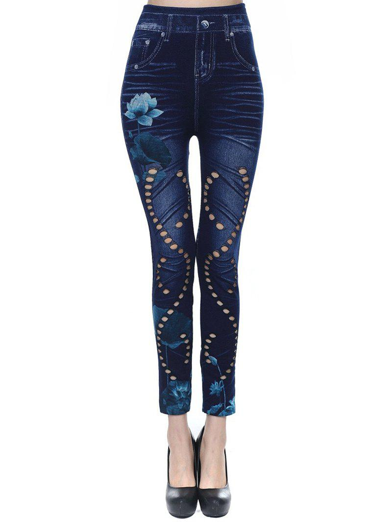 High Waisted 3D Print Lotus Flower Jeggings - DEEP BLUE ONE SIZE