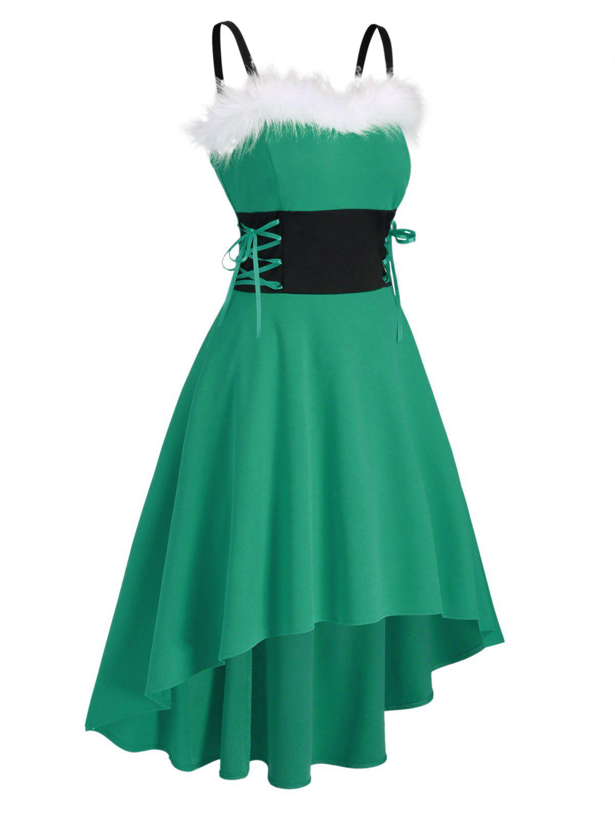 Christmas Faux Fur Insert Lace Up High Low Dress - CLOVER GREEN XL