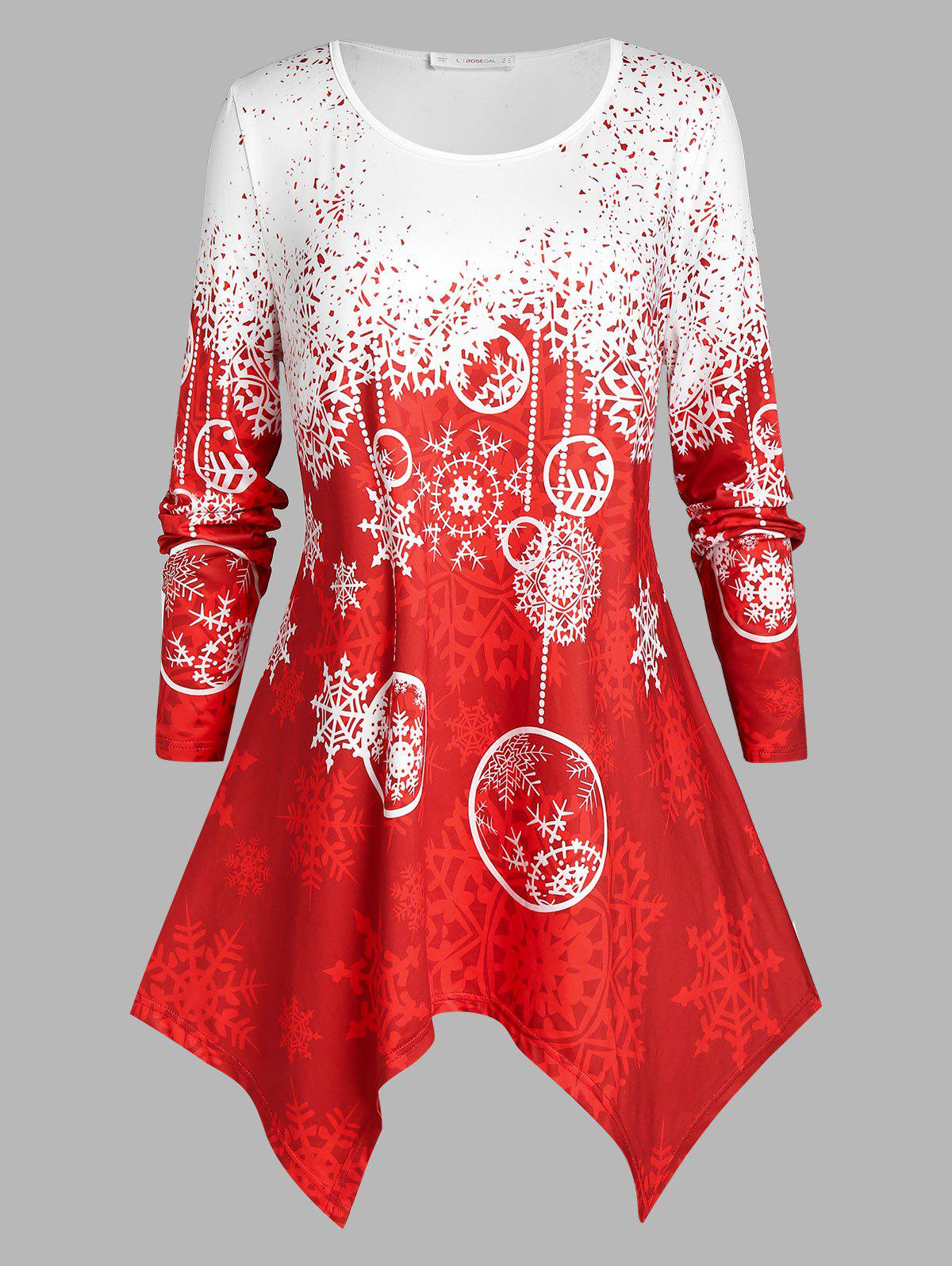 Plus Size Christmas Snowflake Hanky Hem Tunic Tee - RED L