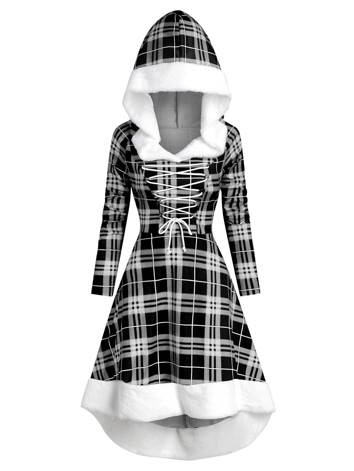 Plaid Faux Fur Insert Hooded Lace Up High Low Dress - WHITE XL