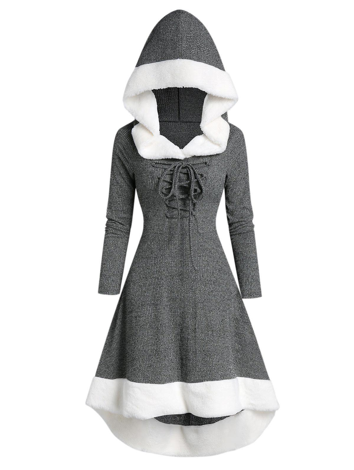 Hooded Lace Up Faux Fur Panel Marled Asymmetrical Dress - DARK GRAY L
