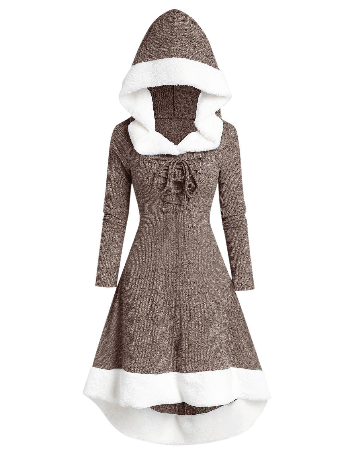 Hooded Lace Up Faux Fur Panel Marled Asymmetrical Dress - COFFEE 3XL