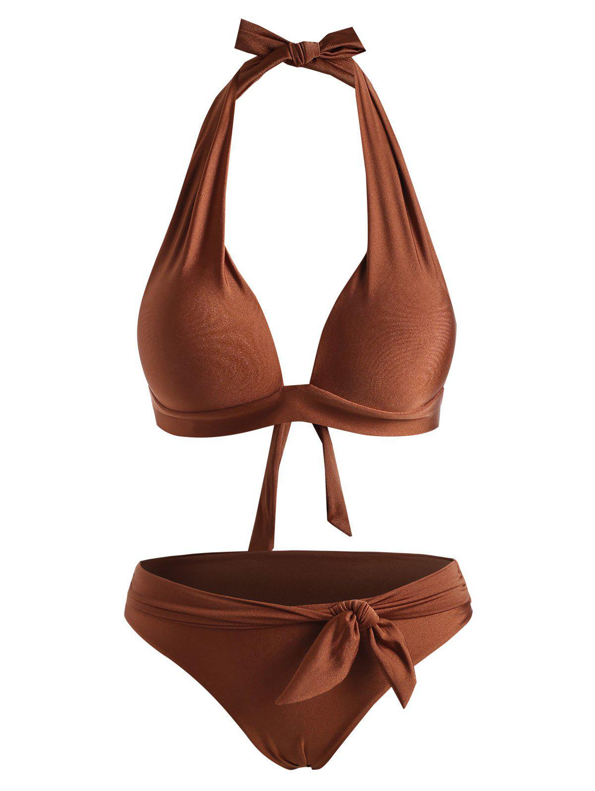 Shiny Halter Belted Padded Bikini Swimwear - DEEP COFFEE 2XL