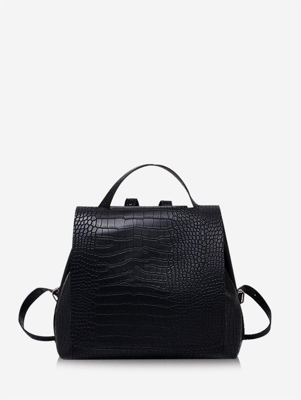 Textured Solid Multifunctional Square Cover Backpack - BLACK