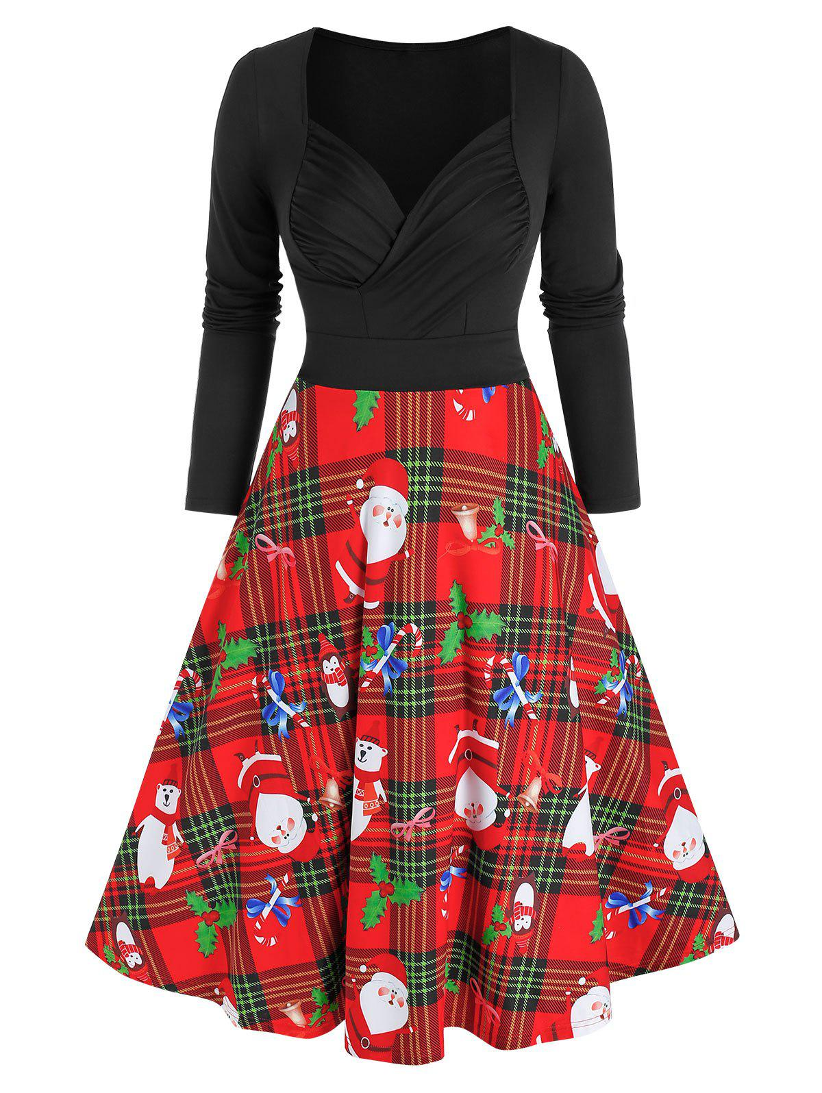 Christmas Santa Claus Plaid Print Ruched Dress - multicolor A 3XL