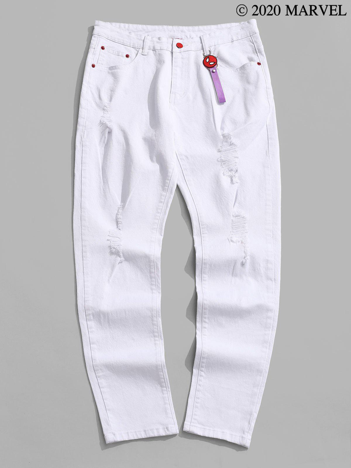 Marvel Spider-Man Ripped Tapered Jeans with Keychain - WHITE S