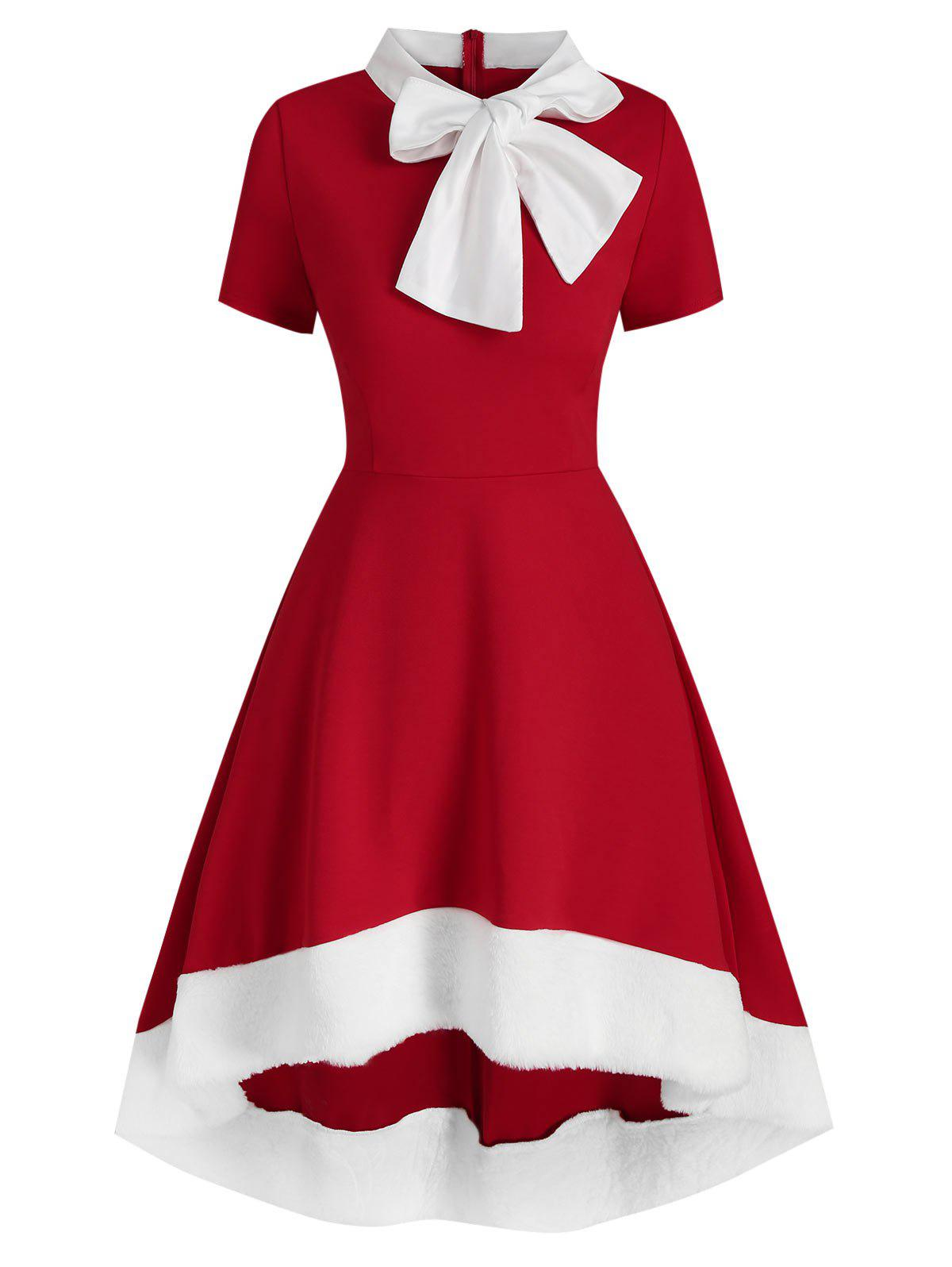 Christmas Bowknot Collar Faux Fur Insert High Low Dress - RED M