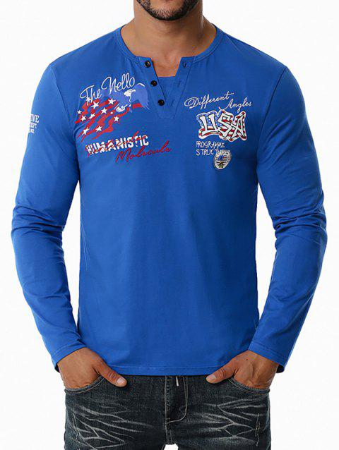 American Flag Letter Embroidered Henley T-shirt