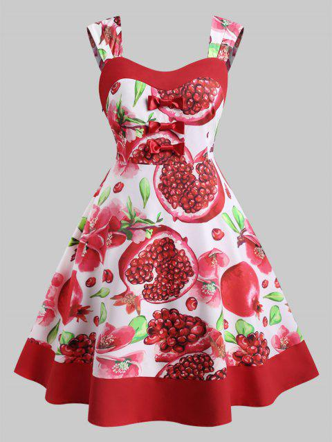 Floral Pomegranate Print Bowknot Plus Size Dress