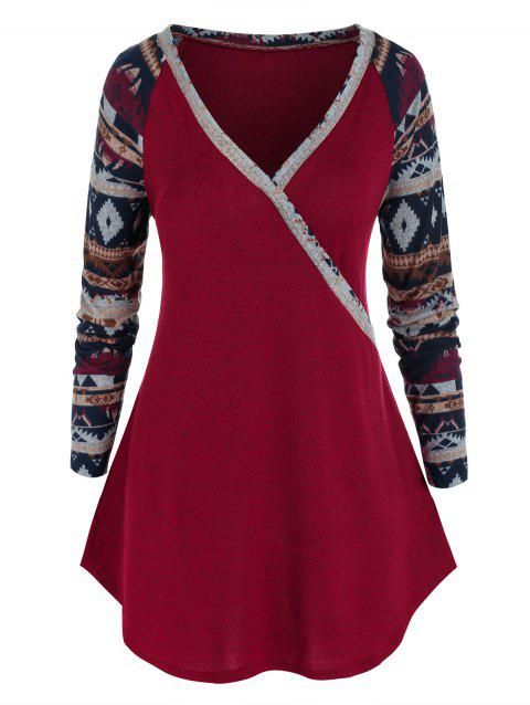 Plus Size Aztec Print Long Sleeve Knitted Tunic Tee